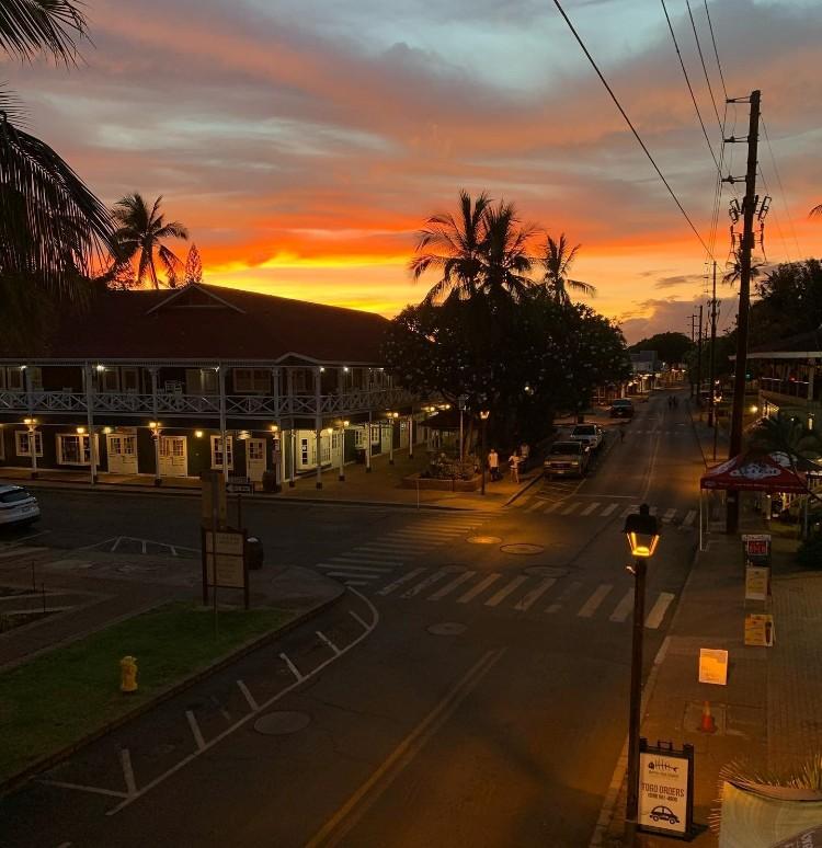 Sunset over pioneer inn on front street lahaina maui hawaii