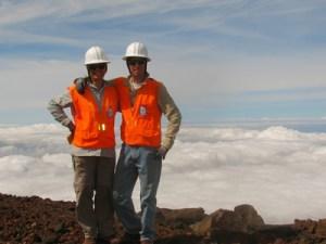 "Forest and Kim Starr do regular botanical surveys on Halakalā summit. Not a bad ""office."" Photo courtesy of Forest and Kim Starr."