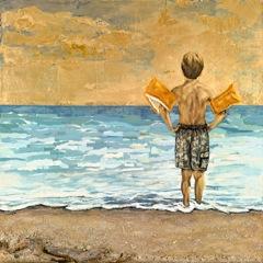 Beach Boss Art - Boy with Water Wings Ocean Beach