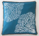 turquoise teal blue green hawaii art pillow cover coral motif
