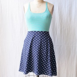 Teal and Blue Polka Dot Dress