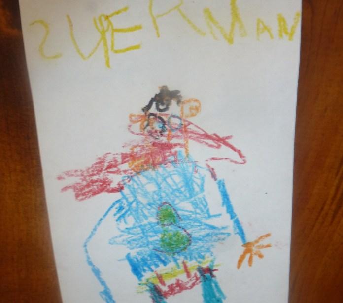 kids drawing superman kindergarten
