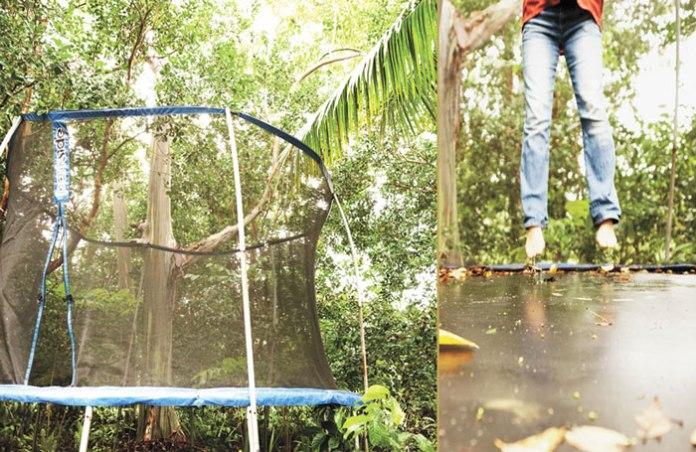 losing baby fat garden trampoline