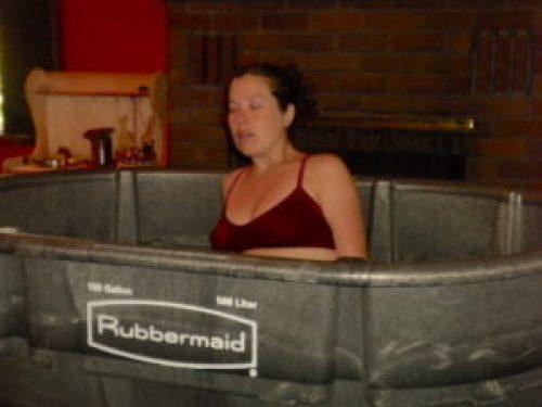 Meredith in birth tub