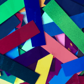 colorful display of powder coated samples