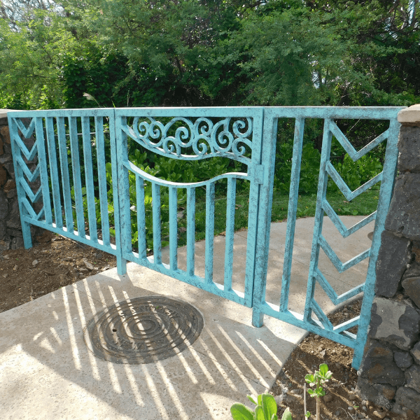 lightly distressed patina access gate