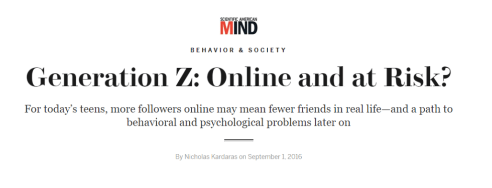Link to article about generation z digital addiction on Scientific America, Behavior and Society