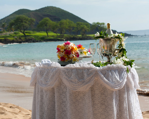 Maui Wedding Package silver china and lace