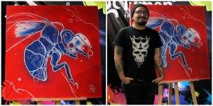"""Izquierda: """"Sin título"""", 2017, Miguel """"Mike"""" Sandoval, técnica mixta, evento Guerra de Arte. Derecha: Mike Sandoval orgulloso junto a su obra recién terminada."""