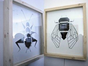 Grillo (Grillus) [izquierda] y Cigarra (Cicadidae) [derecha], 2018, Marco Antonio Lara, Materiales Mixtos, Colección Hashi Gallery.