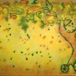 """El carro de los peces, 2017 - 2018, Javier Cruz, óleo sobre lino, exposición """"Árbol, rama y tiempo. Eterna naturaleza""""."""