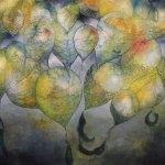 """Los globos de la playa, 2017, Javier Cruz, óleo sobre lino, exposición """"Árbol, rama y tiempo. Eterna naturaleza""""."""