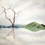 """Hierve el agua, 2018, Guillermo Pons, óleo sobre tela, exposición colectiva """"Artistas de Casa Lamm""""."""