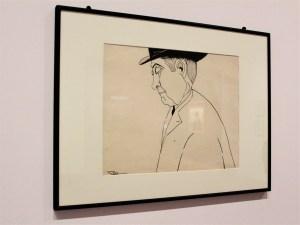 Hombre con sombrero negro, 1917, María del Carmen Mondragón Valseca, Tinta china y grafito sobre papel, Colección particular.