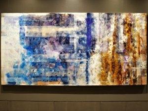 "Azul tierra 1, 2017, Virginia Chévez, óleo sobre lino, exposición ""Pied à terre""."