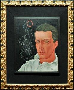 """Autorretrato,1935, Carlos Mérida, óleo sobre tela, colección María y Manuel Reyero, exposición """"Carlos Mérida. Retrato escrito (1891-1984)""""."""