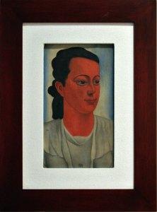 """Retrato de Alma,1935, Carlos Mérida, óleo sobre tela, colección Alma Navas y Mérida, exposición """"Carlos Mérida. Retrato escrito (1891-1984)""""."""