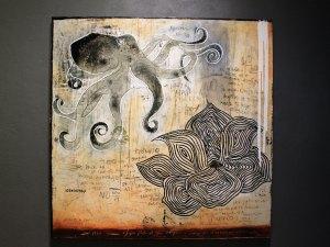 """La Flor , 2018, Amador Montes, mixta sobre tela, exposición """"Nada se termina"""""""