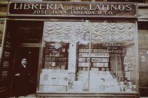 Fachada de la Librería de los Latinos de José Juan Tablada & Co. Ubicada en  el 118 East 28th Street (New York City), en el año 1921, conferencia «José Juan Tablada, coleccionista de exotismos».