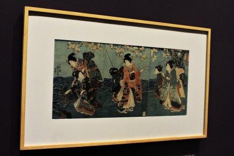Diversión en el jardín (O-niwa asobi), Japón, 1851. Xilografía policroma de Utagawa Kuniyoshi (1798-1861), colección Biblioteca Nacional de México, UNAM, exposición «Pasajero 21».