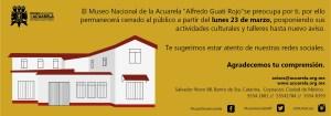 Suspensión de Actividades del Museo Nacional de la Acuarela, Alfredo Guati Rojo.