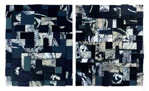En sentido figurado (Díptico) - Collage con fragmentos de madera intervenidos con esténcil y acrílico, 60 x 50 x 7 cm c/u | Final: 60 x 100 x 7 cm., 2020.