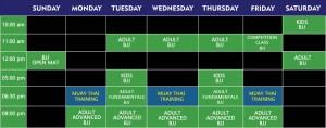schedule week-jiu-jitsu muay-thai