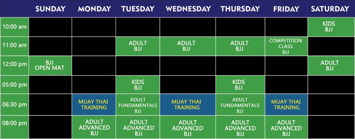 schedule week-jiu-jitsu-muay-thai