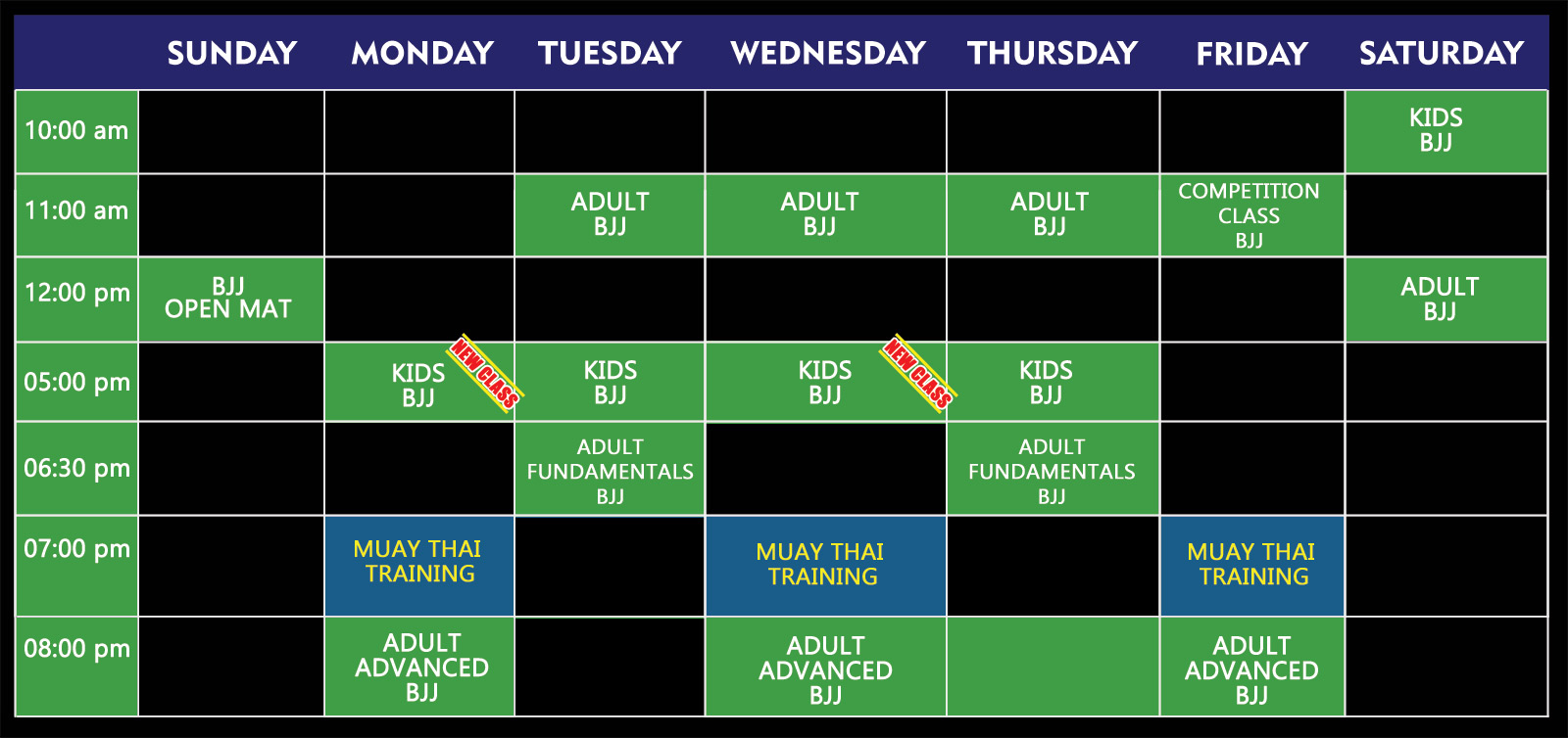 schedule week-jiu-jitsu muay-thai 2019
