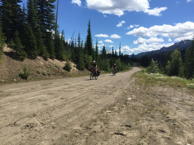 Two GDMBR riders, Sarah and Henry, from the UK that I met in camp the night before riding over Cabin Pass.