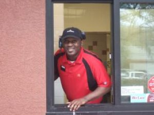 Another happy face at our local McDonald's drive-thru today
