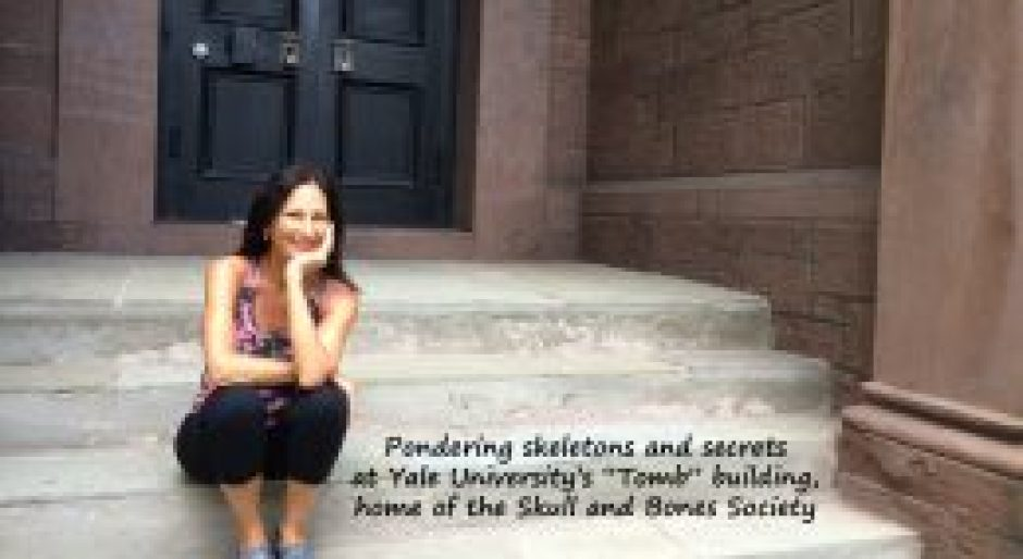 Maura Sweeney ponders skeletons at Yale Skull and Bones Society
