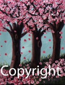 Painting of Cherry Blossoms falling in the aftermath of the tragic earthquake and tidal wave in Sendai Japan in 2011.