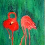 Carefree Pair Flamingo Couple painting by Maura Satchell