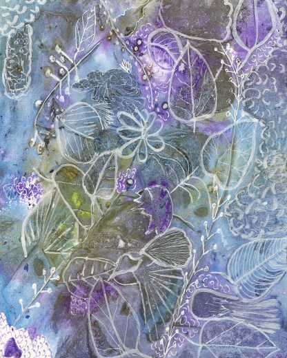 Cool in the Shade botanical abstract painting