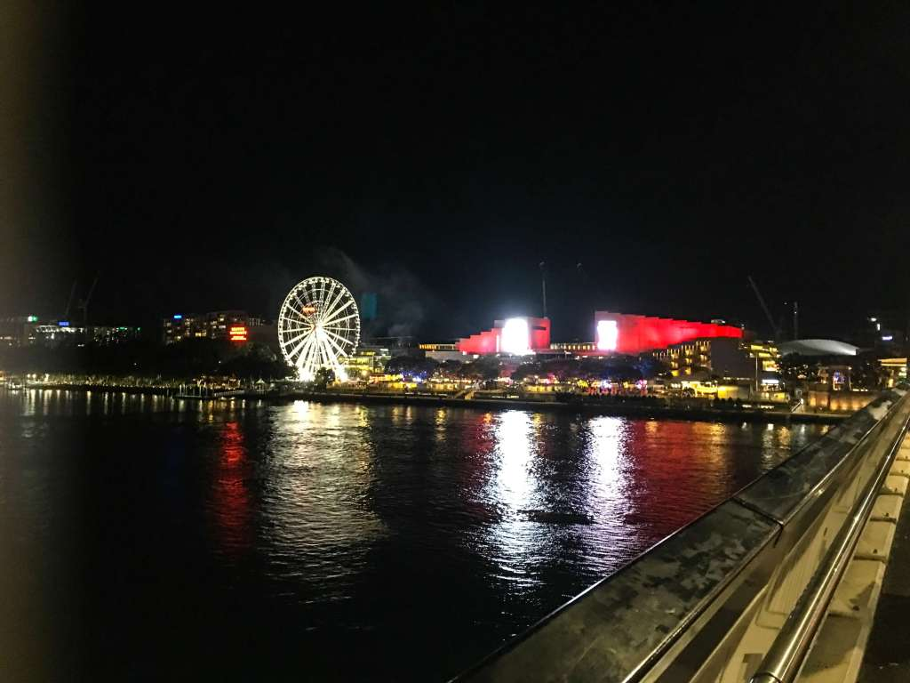 The Brisbane Wheel gives a birds-eye-view of the city, especially beautiful at night