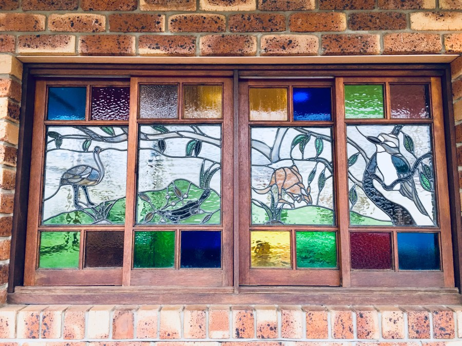 Stained Glass windows featuring Australian animals - Emu, Goanna, Kangaroo and Kookaburra