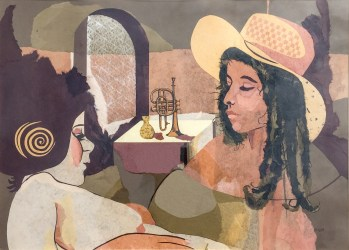 #107 Collage - studio piece - two girls