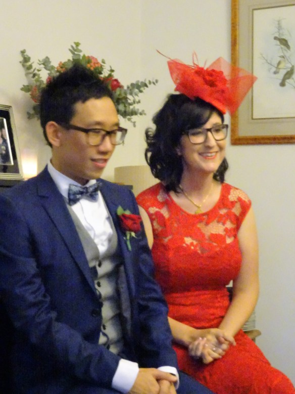 The bride and groom at the Tea Ceremony attended by close members of both families
