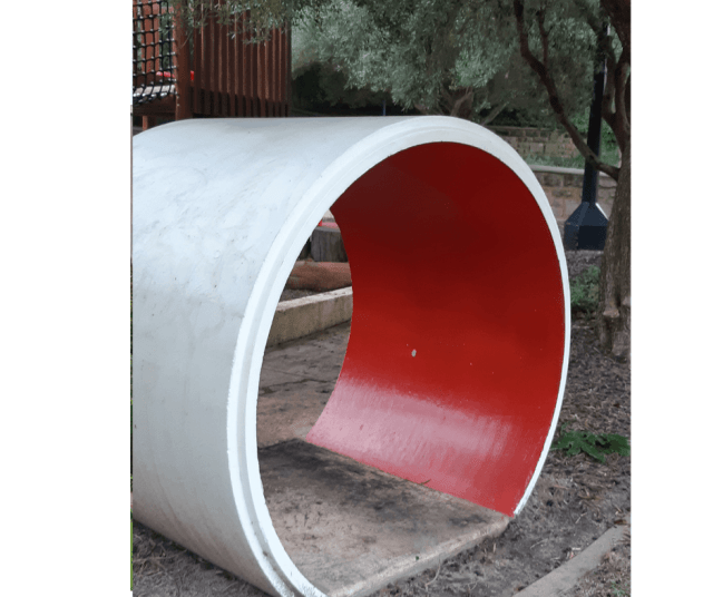 Pipe painted red inside on Subiaco Common