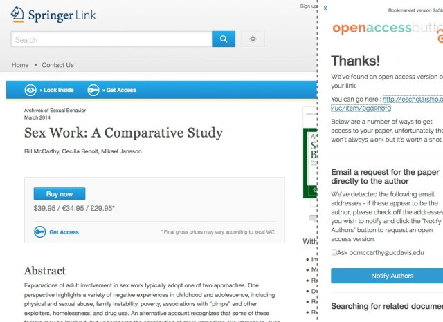 Screenshot of the Open Access button in action as a bookmarklet in a browser