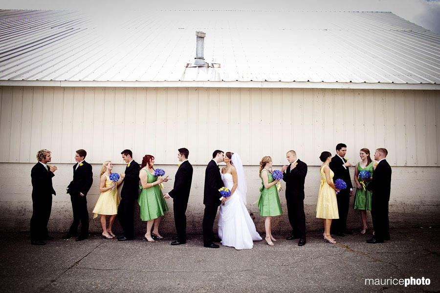Non-traditional wedding party portrait by Seattle Wedding Photographer Maurice Photo