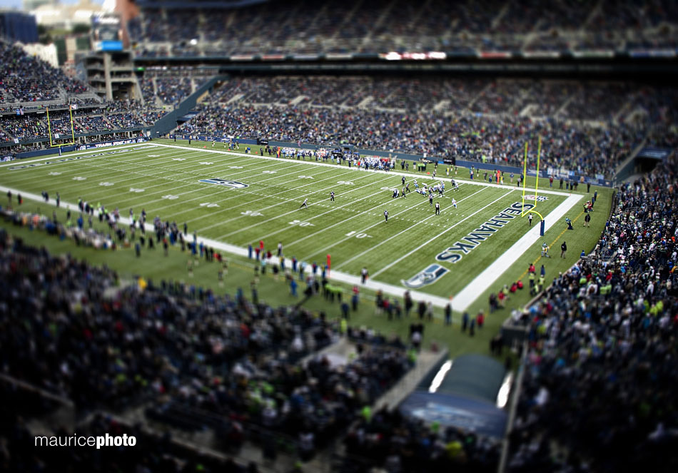 A picture of Qwest Field from the press box during a Seahawks game.