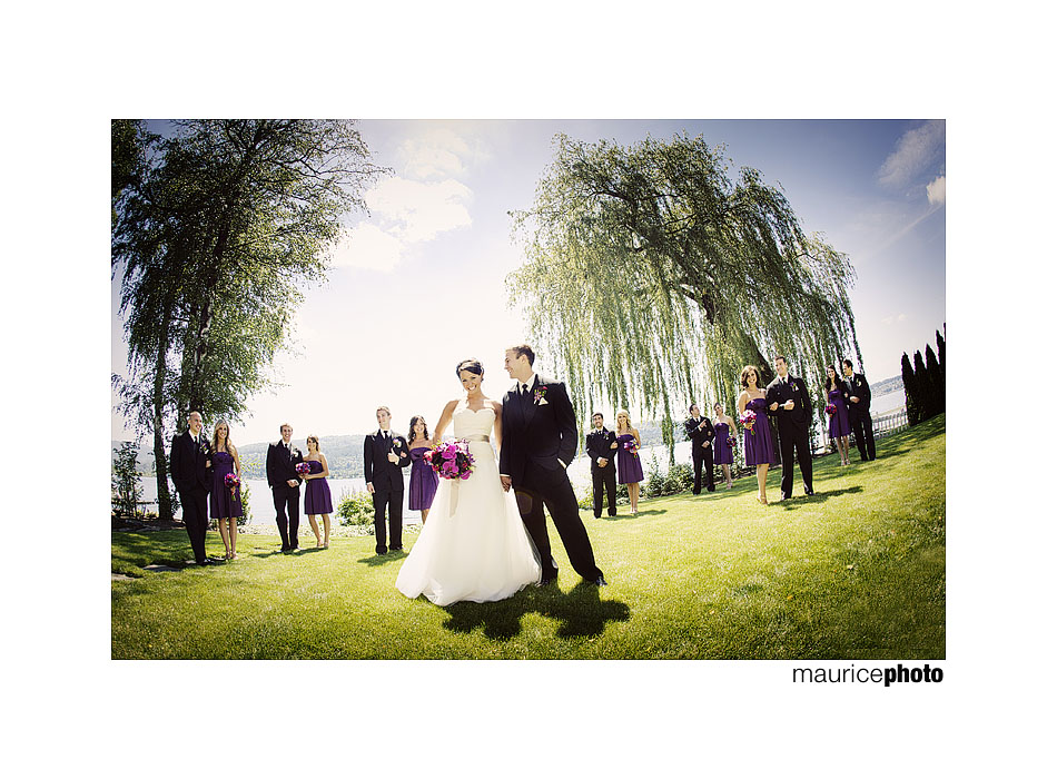 Picture of bridal party outdoors with fisheye lens.