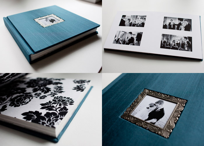 Photos of a handmade wedding album using Japanese Book Cloth.