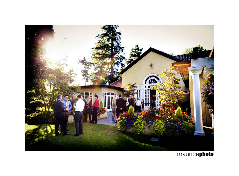 Guests mingle at a wedding reception at Inglewood Golf Club
