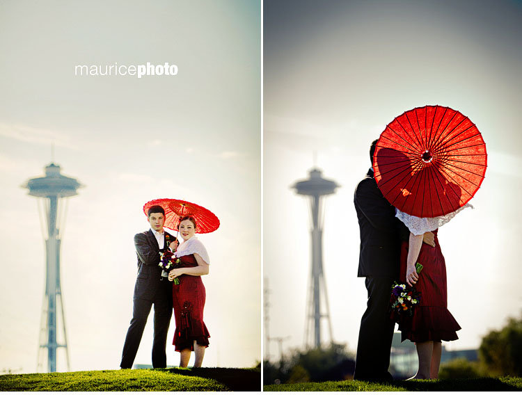Space Needle Wedding portraits.