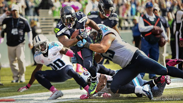 Marshawn Lynch of the Seattle Seahawks tackled on the 1 yard line