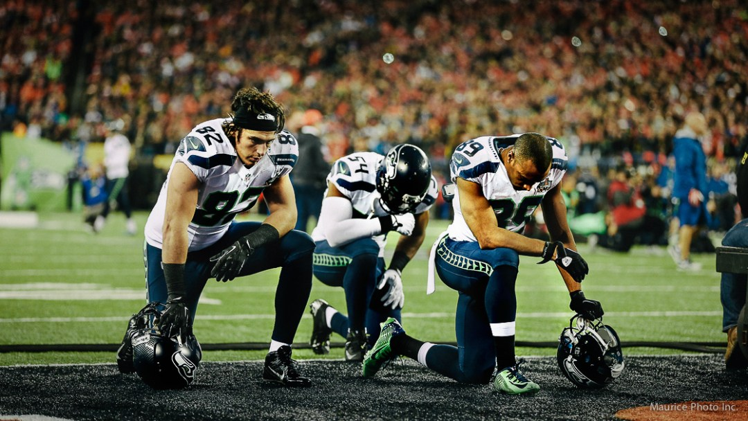 Luke Wilson Bobby Wagner Doug Baldwin at the Superbowl