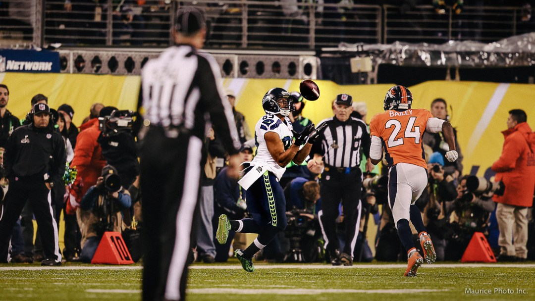 Doug Baldwin catches a pass in Super Bowl 48